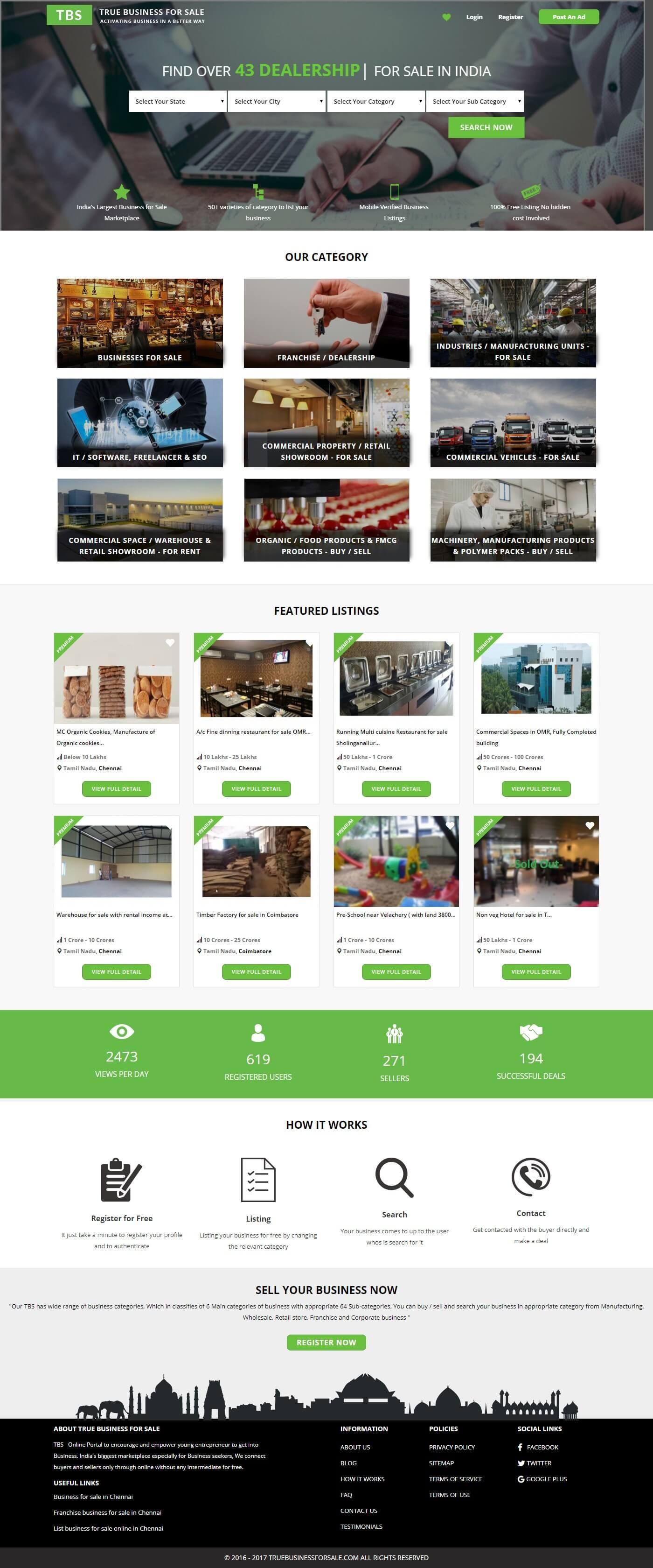 Dynamic Website Development for True Business for Sale