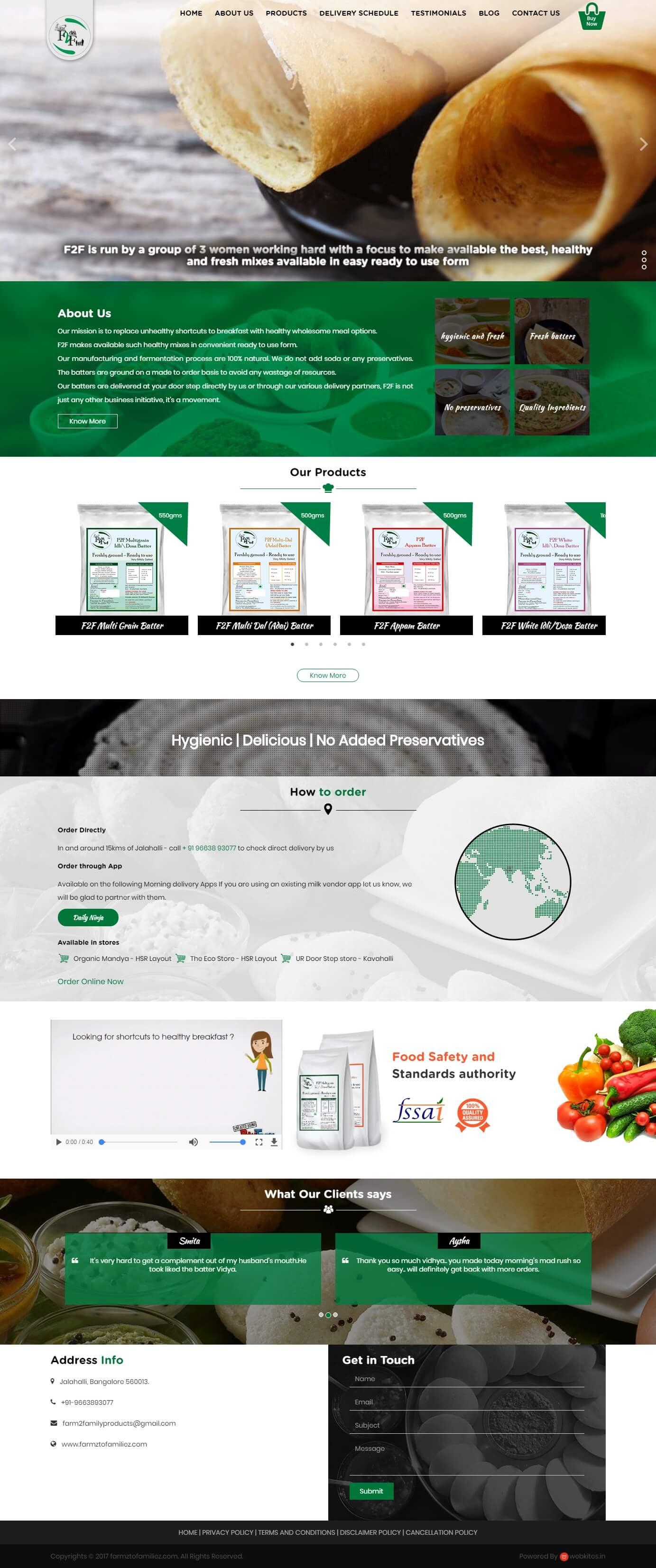 Dynamic Website for FarmztoFamiliez