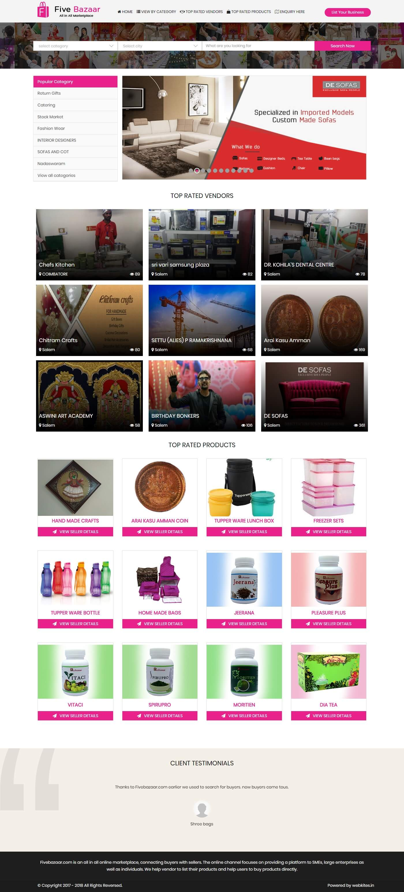 Dynamic website for five bazaar