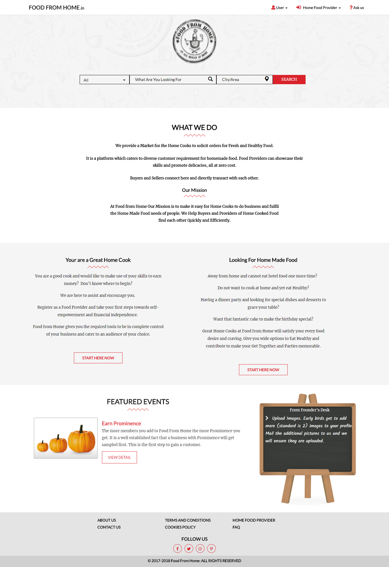 Dynamic websites for food from home