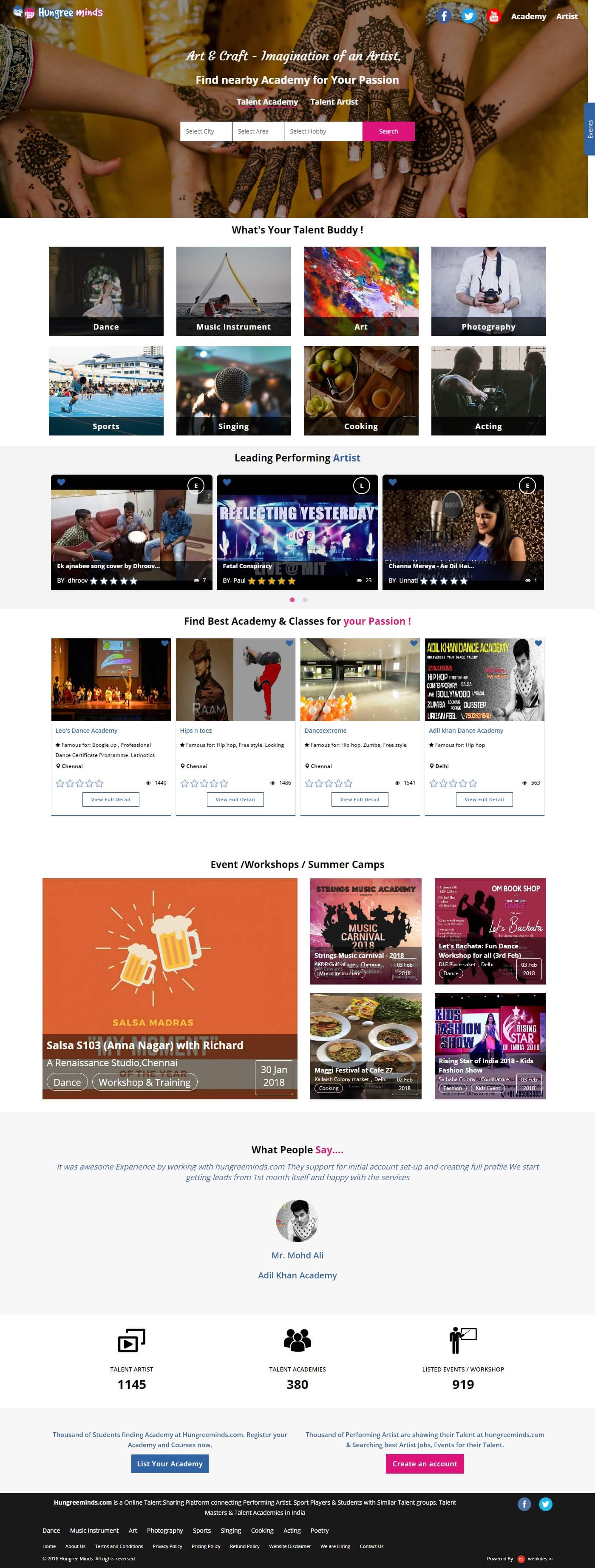 Dynamic website for Hungreeminds