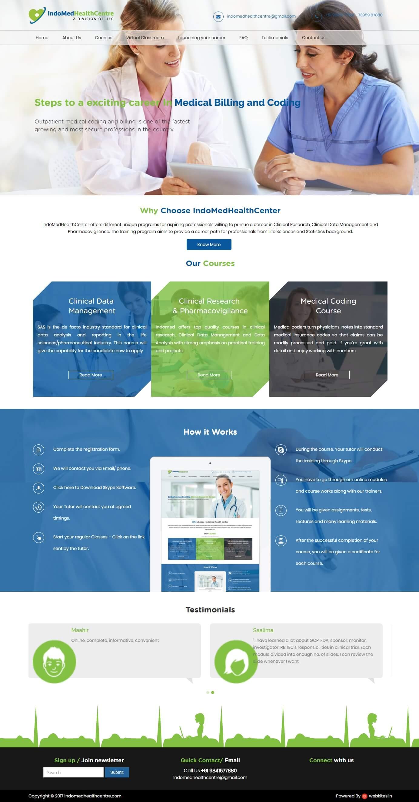 Wordpress website for indo med health center