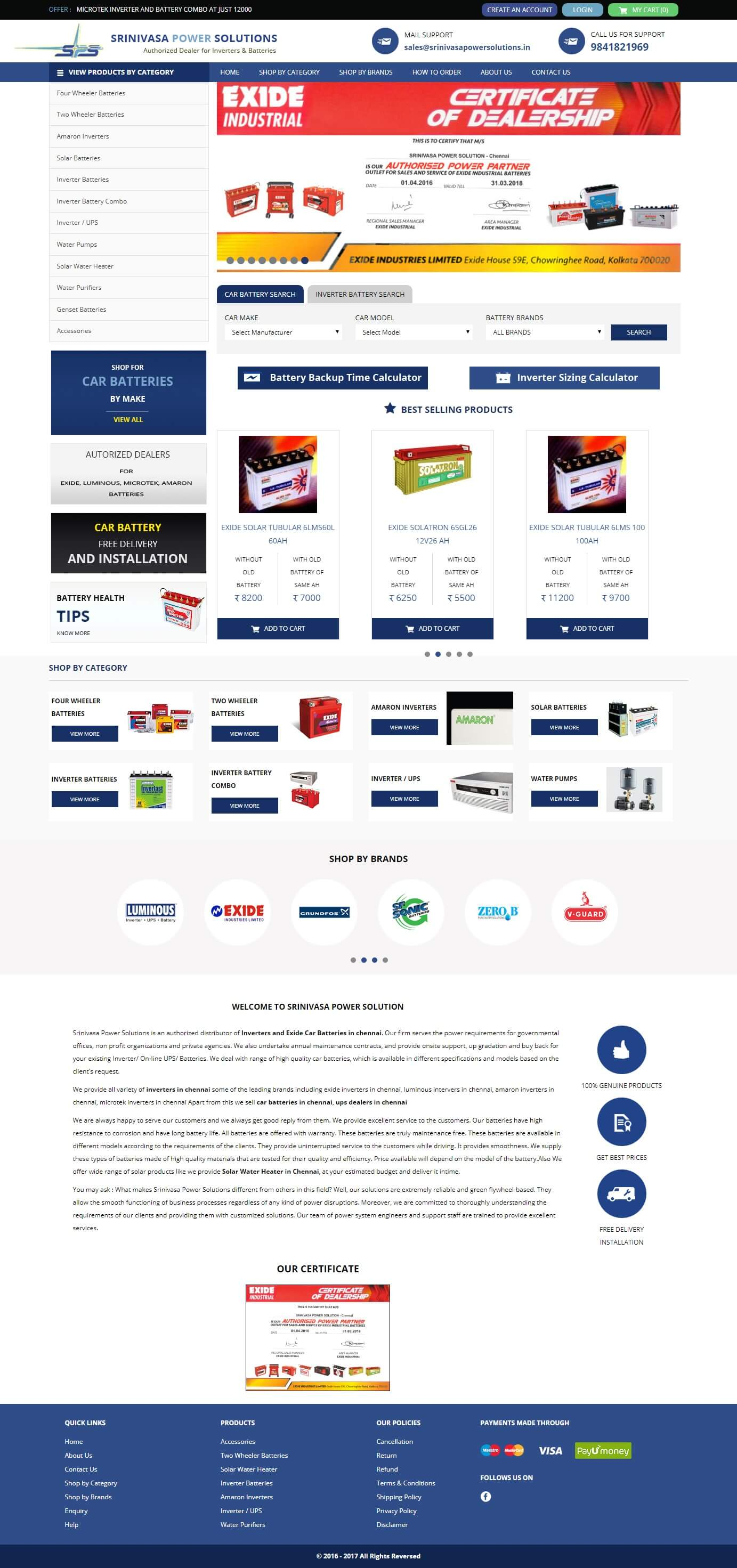 Dynamic Website Development for Srinivasa Power Solutions