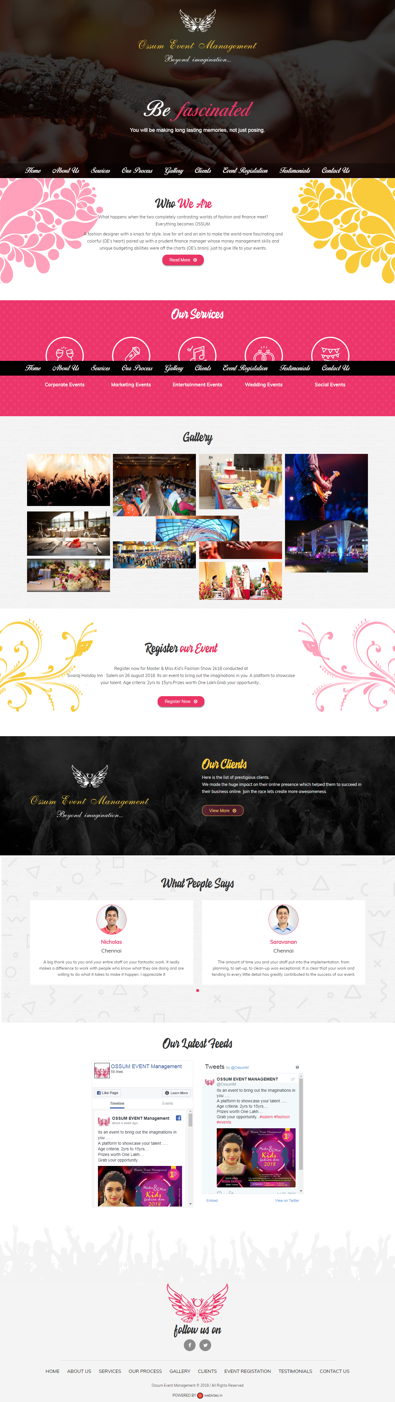 Dynamic websites for ossum event management