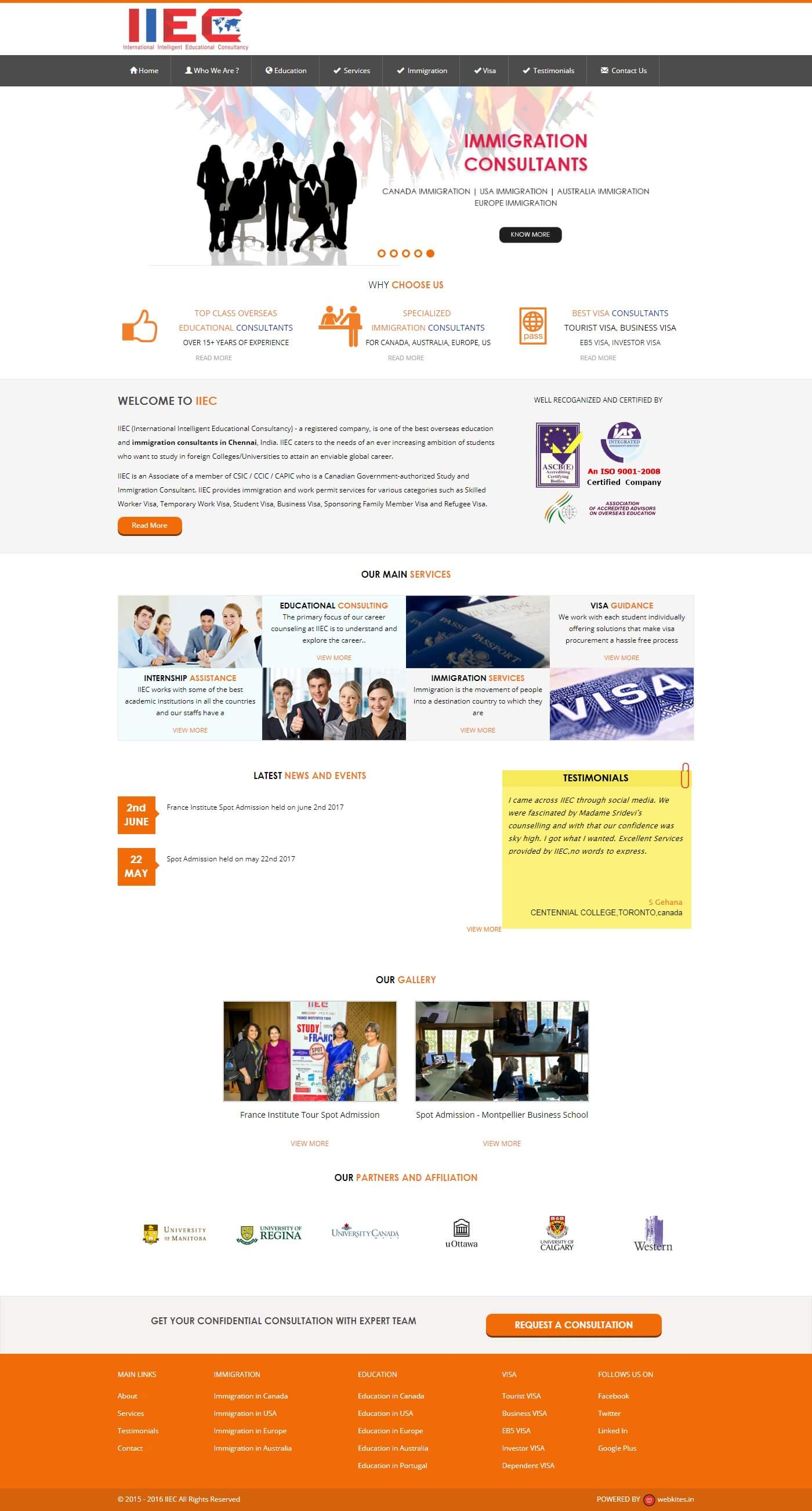Wordpress Website for International Intelligent Educational Consultancy