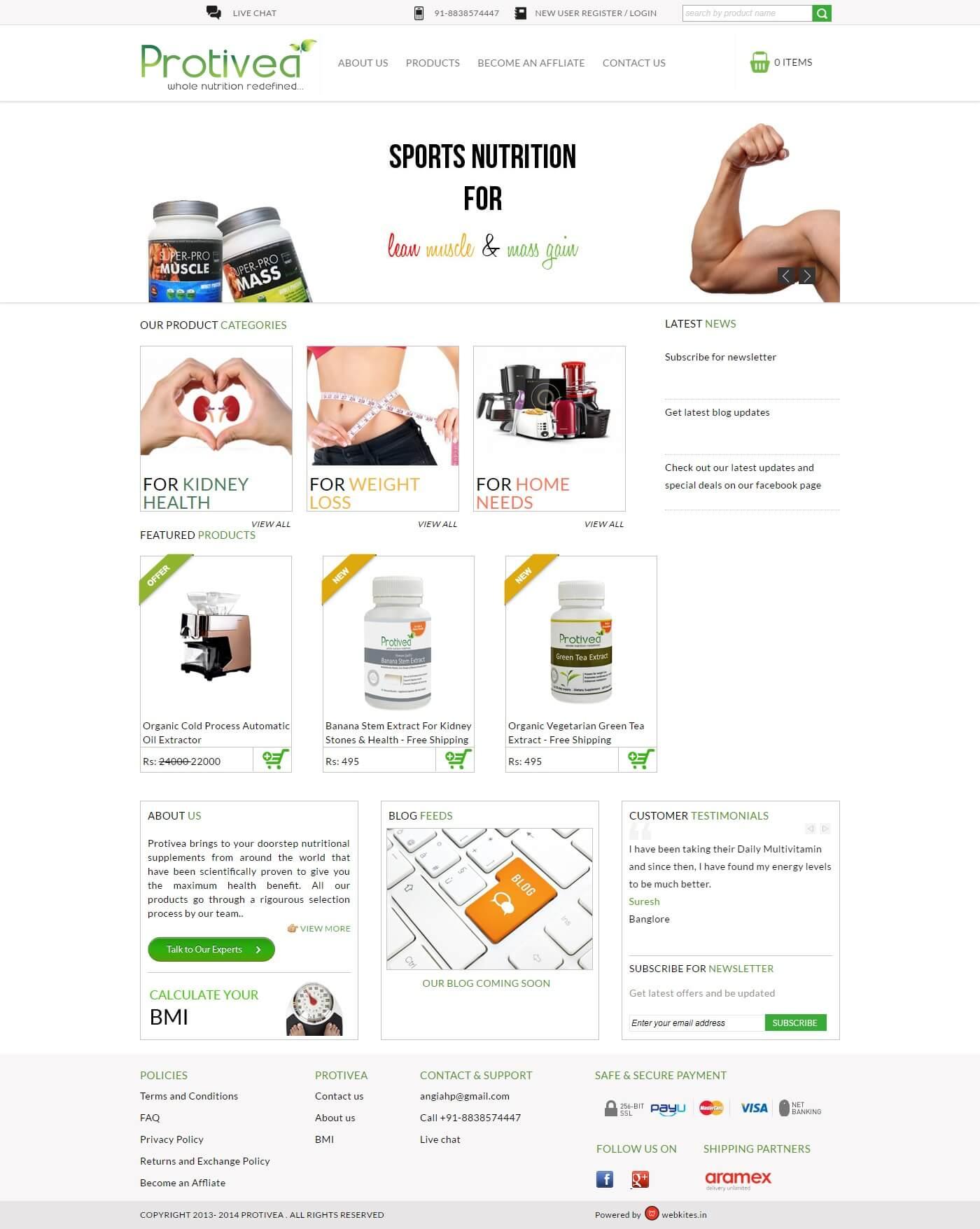 Ecommerce website for protivea.com
