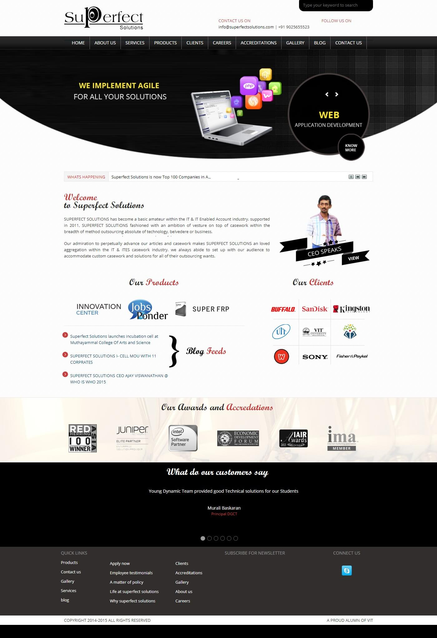 Dynamic website for Superfect Solutions