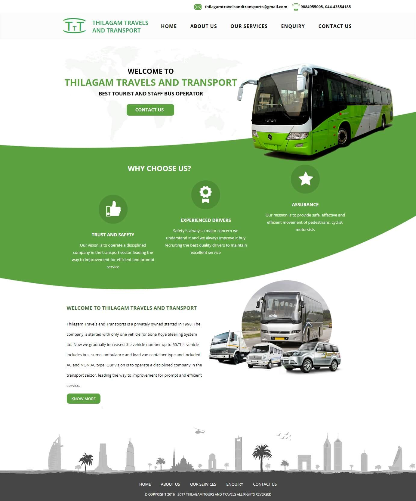 Static website for Thilagam Travels and Transports