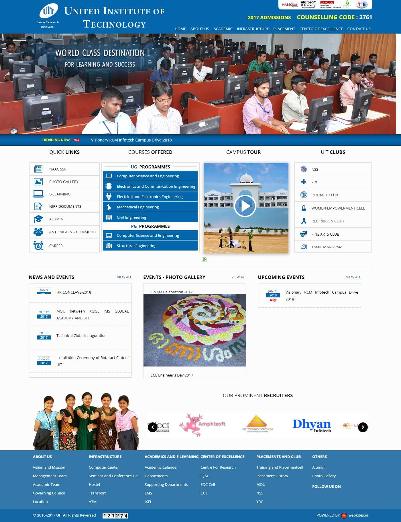 Web Designing and Development for uit.ac.in