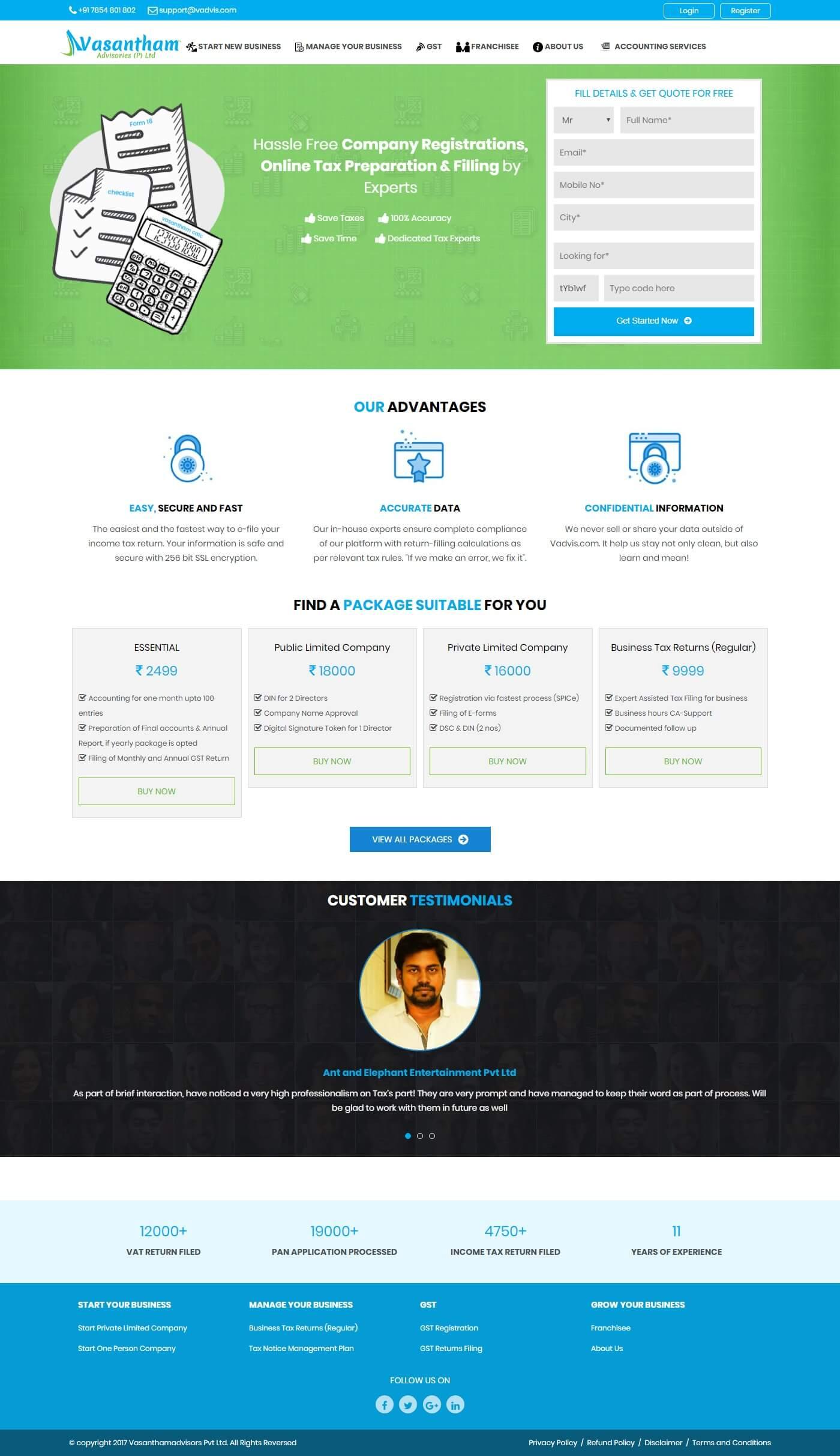 Dynamic Website for Vasantham Advisories Pvt Ltd