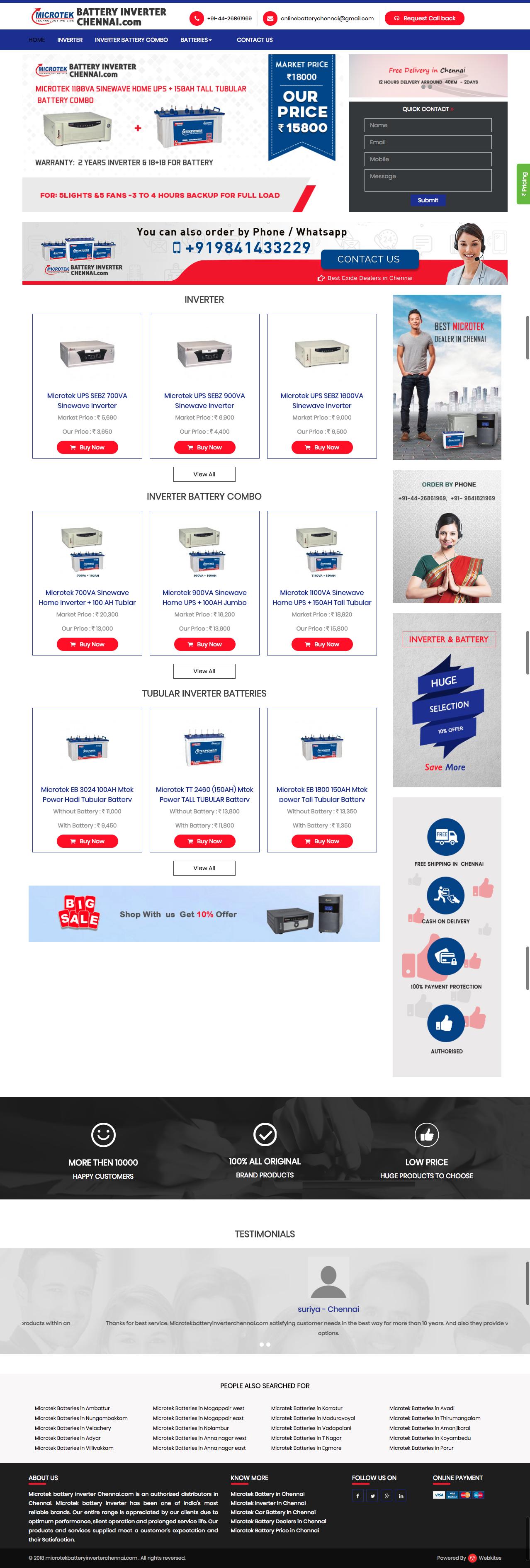 Dynamic websites for Microtekbatteryinverterchennai