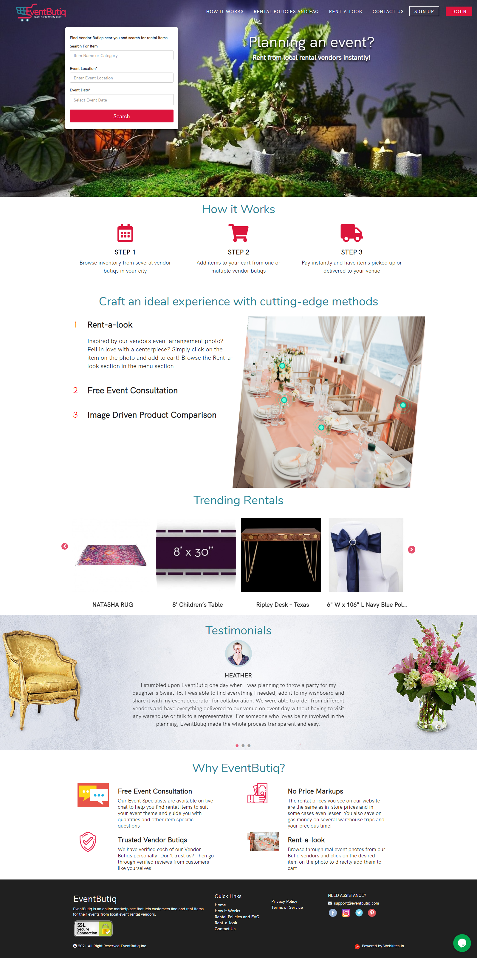 website development work for eventbutiq